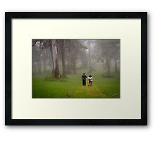 Loving Couple in the Woods Framed Print