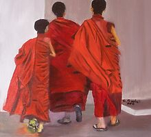 """Three Young Monks - oil on wood panel 12"""" x 12"""" by Claudia Goodell"""
