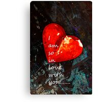 So In Love With You - Romantic Red Heart Painting Canvas Print