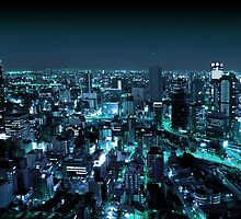 Osaka City by Night by Atanas Bozhikov