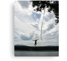 Letting go - Stillwater Lake rope swing Canvas Print