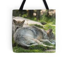 Timber wolf and pup Tote Bag