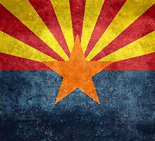 State flag of Arizona, with vintage retro style treatment by Bruiserstang