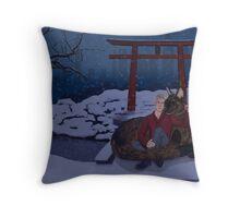 Finni and Mamoru - Snow on Spirit Bridge - Cover Throw Pillow