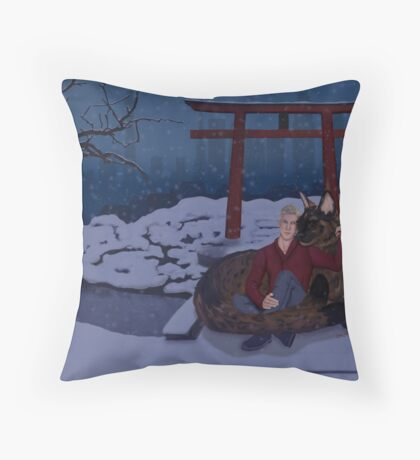 Finni and Mamoru - Snow on Spirit Bridge - Cover Throw Pillow