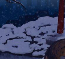 Finni and Mamoru - Snow on Spirit Bridge - Cover Sticker