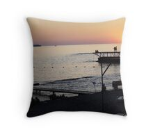carefree evening- Black Sea Throw Pillow