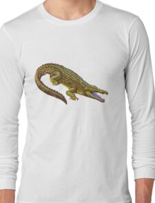 Vintage Crocodile Illustration Long Sleeve T-Shirt