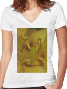 macro Daylily - my garden, Ottawa, Ontario Women's Fitted V-Neck T-Shirt