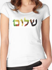 Shalom 1 - Jewish Hebrew Peace Letters Women's Fitted Scoop T-Shirt