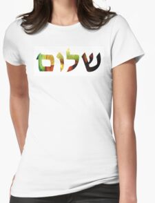 Shalom 1 - Jewish Hebrew Peace Letters Womens Fitted T-Shirt