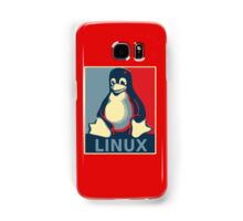 Linux tux penguin obama poster Samsung Galaxy Case/Skin