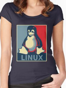 Linux tux penguin obama poster Women's Fitted Scoop T-Shirt
