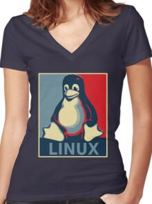 Linux tux penguin obama poster Women's Fitted V-Neck T-Shirt