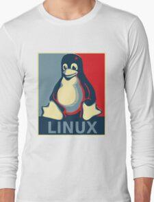 Linux tux penguin obama poster Long Sleeve T-Shirt