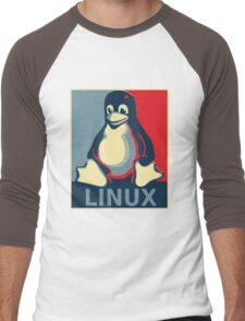 Linux tux penguin obama poster Men's Baseball ¾ T-Shirt