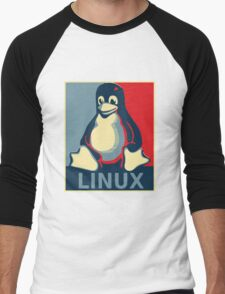 Linux tux penguin obama poster Men's Baseball ¾ T-Shirt
