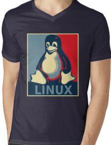 Linux tux penguin obama poster Mens V-Neck T-Shirt