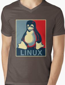 Linux tux penguin obama poster Mens V-Neck T-Shirt