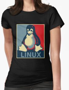 Linux tux penguin obama poster Womens Fitted T-Shirt