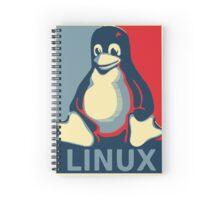 Linux tux penguin obama poster Spiral Notebook