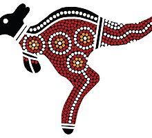 Aboriginal Art Kangaroo - Authentic Designs by HogarthArts