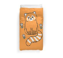 Red Panda with White Flowers Duvet Cover