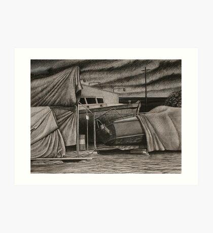 """Dry-Dock II"" Conte, 50x65cm. Art Print"