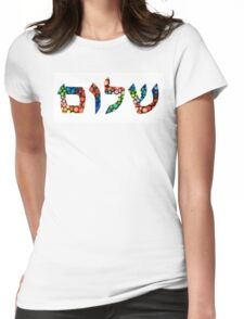 Shalom 10 - Jewish Hebrew Peace Letters Womens Fitted T-Shirt