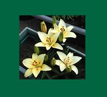 Delicate Creamy Yellow Lily Blossoms and Buds Womens Fitted T-Shirt