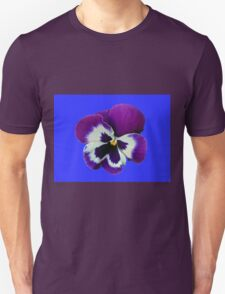 Purple and White Pansy on Blue Background Unisex T-Shirt