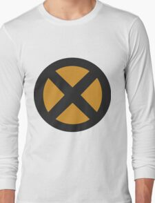 Grey/Yellow X-men logo Long Sleeve T-Shirt