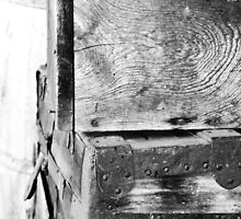Old Wood grain traveling trunks - black and white by shilohrachelle