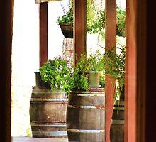 Decorative wine barrels through porch window by shilohrachelle