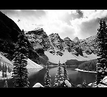 The Other Moraine Lake (Bordered Black & White) by Chad Kruger