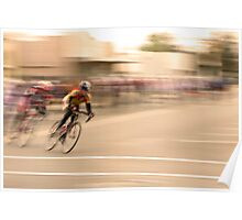 Cyclists Coming Around a Curve and into the Straightaway Poster