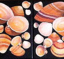 Cockle Shells Dyptic by JANET SUMMERS