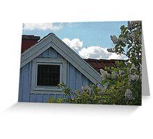Bright Day Blue Cottage Gothenburg Greeting Card
