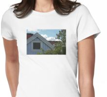 Bright Day Blue Cottage Gothenburg Womens Fitted T-Shirt
