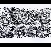 Love and Peace Aussie Tangle in Black and White  by Heatherian