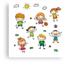 Kids playing outside in summer Canvas Print