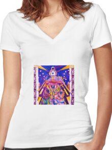 Blue Star Buffalo Girl Women's Fitted V-Neck T-Shirt