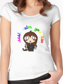 Calm your tits Women's Fitted Scoop T-Shirt