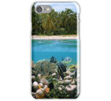 Tropical sandy beach and underwater coral reef fish iPhone Case/Skin