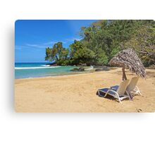 Lounge chairs with parasol on tropical beach Metal Print