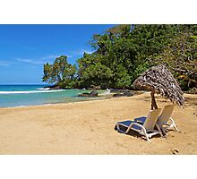 Lounge chairs with parasol on tropical beach Photographic Print