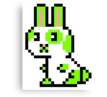 Green Spotted Pixel Bunny  Canvas Print