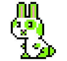 Green Spotted Pixel Bunny  Photographic Print