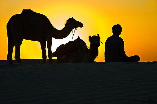 Sunset at Khuri Sand Dunes by Mukesh Srivastava