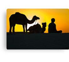 Sunset at Khuri Sand Dunes Canvas Print